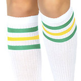 Sokken Knie Sport Wit met Groen en Geel_