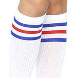 Sokken Knie Sport Wit met Blauw en Rood_