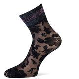 Sokken Enkel Panty Bloemen Pizzo Zwart met Pink_