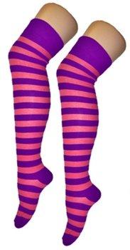 Kousen Overknee Streep Paars/Pink