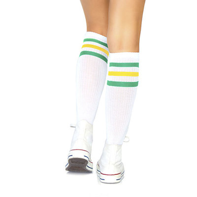 Sokken Knie Sport Wit met Groen en Geel