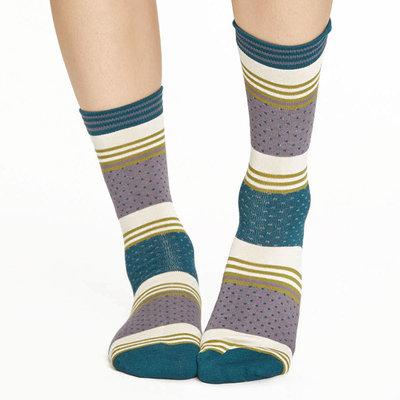 Sokken Thought Bamboe Dotty Stripe in Grijs