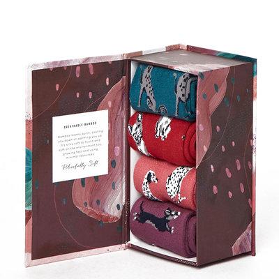 Bamboe Sokken Giftbox Dames Honden