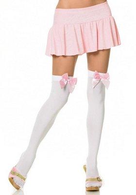 Kousen Strik Overknee Wit met Roze