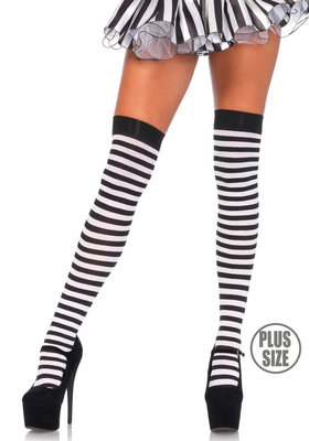 Kousen Overknee Streep Zwart Wit Plus Size
