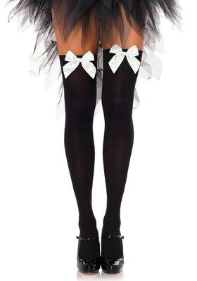 Kousen Strik Zwart met Wit Overknee