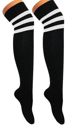 Kousen Overknee Scheidsrechter Zwart met Wit
