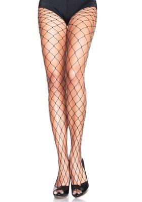 Panty Net Grote Mazen Zwart Plus Size