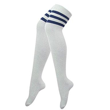 Kousen Overknee Scheidsrechter Wit met Blauw