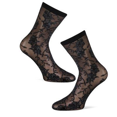 Sokken Enkel Panty Zwart met Zilver Lurex Bloem