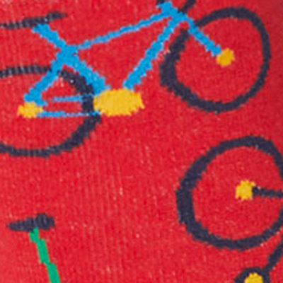 Bamboe Herensokken Bicycle Hibiscus Rood