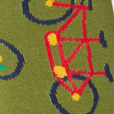 Bamboe Herensokken Bicycle Hibiscus Olijfgroen