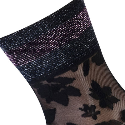 Sokken Enkel Panty Bloemen Pizzo Zwart met Pink