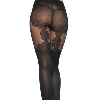 Panty met Ingeweven Bloemen Kousenband