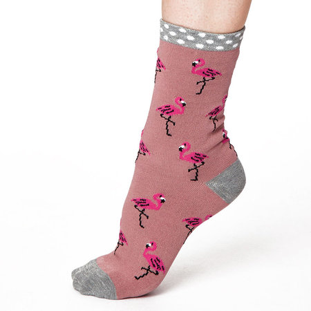 Sokken Thought Bamboe Flamingo in Roze