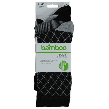 Bamboe Herensokken 3-Pack Antraciet Ruit
