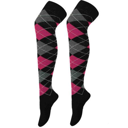 Kousen Overknee Argyle Zwart met Pink en Grijs