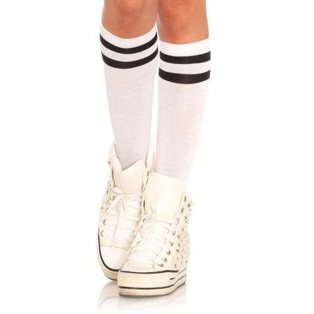 Sokken Knie Sport Wit met Zwarte Strepen