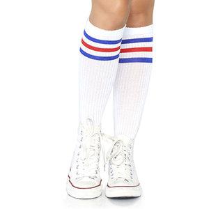 Sokken Knie Sport Wit met Blauw en Rood