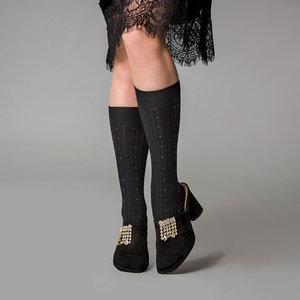 Kniekousen Lynn in zwart met Glittertje