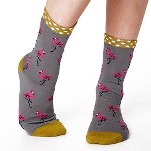 Sokken Thought Bamboe Flamingo in Grijs